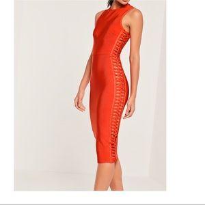 Cut Out Side Bandage Midi Dress Orange